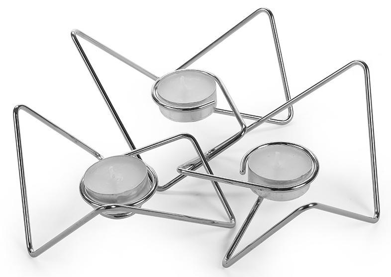 Купить Подсвечники, Black+Blum Набор из 3-х подсвечников Tri-Angular Loop хром, Серебристый, Металл