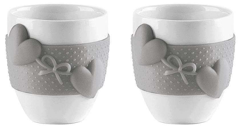 Купить Чашки, Guzzini Набор из 2 чашек для кофе Love серый, Серый, Фарфор