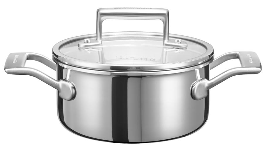 Купить Кастрюли из нержавеющей стали, KitchenAid 3 Ply SS Кастрюля для соуса 1.42л с крышкой, Серебристый, Нержавеющая сталь