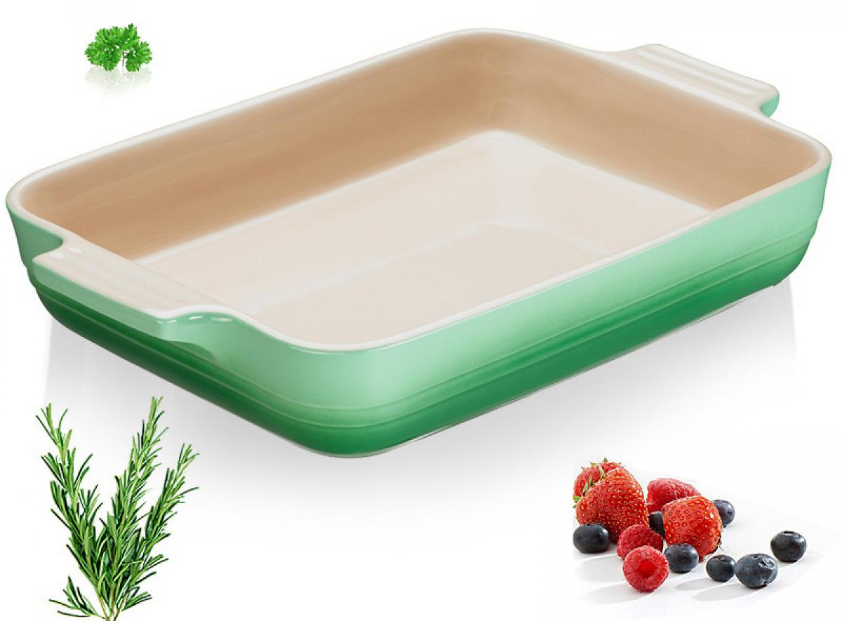 Купить Посуда для запекания, LE CREUSET Прямоугольное блюдо 32 см, каменная керамика, розмарин, Зеленый, Керамика