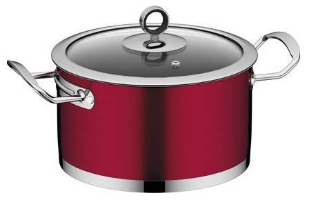 Купить Кастрюли из нержавеющей стали, NADOBA CERVENA Кастрюля со стеклянной крышкой, 20 см/3, 2 л, Красный, Нержавеющая сталь