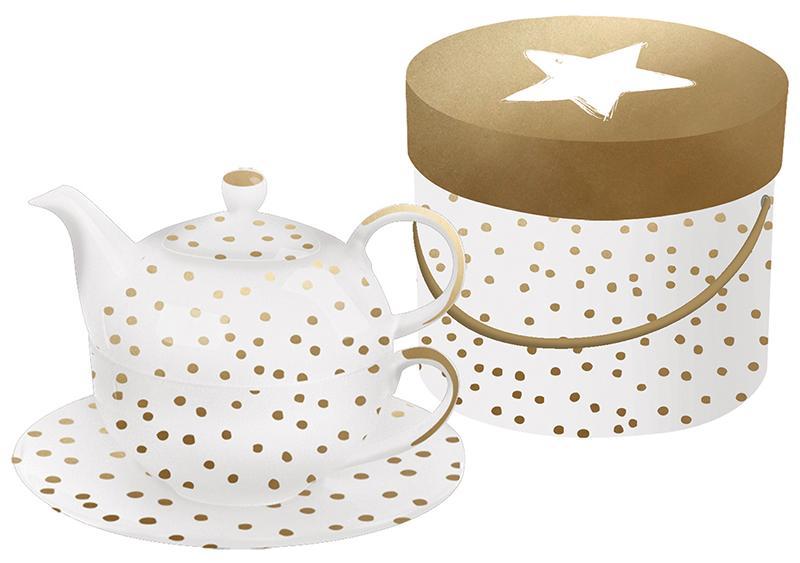 Купить Заварочные чайники, Paperproducts Design Набор заварник+чашка+блюдце в подарочной упаковке The Star Money с настоящим золотом, Белый, Фарфор