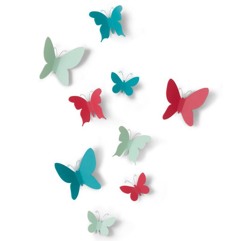 Купить Umbra Декор для стен Mariposa 9 элементов разноцветный, Полипропилен