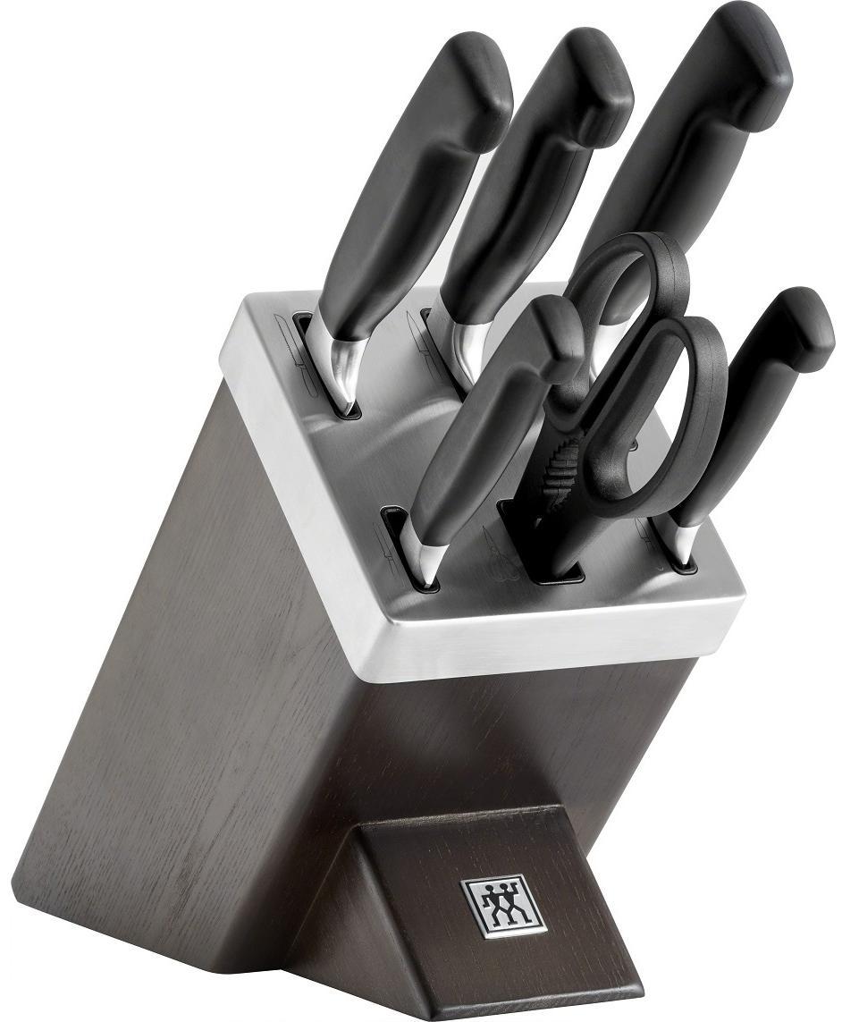 Купить Наборы ножей, Zwilling Four Star Набор ножей 7 пр. с заточкой, Zwilling J.A. Henckels, Черный, Специальная ножевая сталь с криозакалкой FRIODUR®