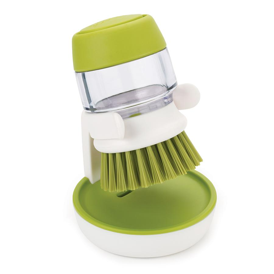 Купить Губки, Щётки, Joseph Joseph Щетка с дозатором моющего средства Palm Scrub™ зеленая, Зеленый, Пластик